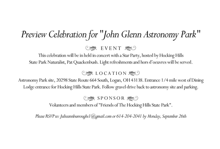John Glenn Astronomy Park Preview Celebration